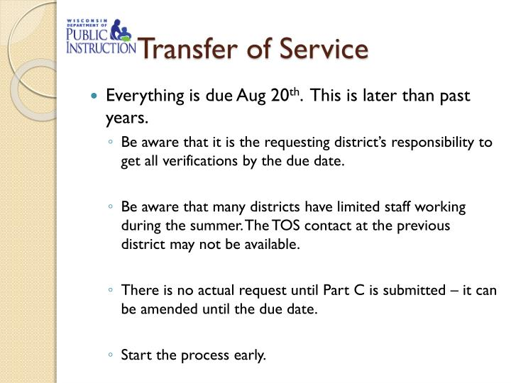 Transfer of Service