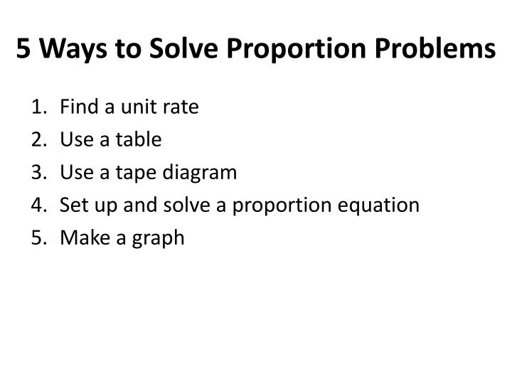 5 Ways to Solve Proportion Problems