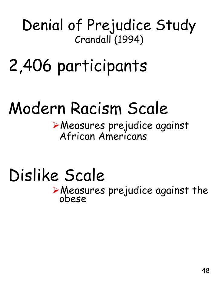 Denial of Prejudice Study