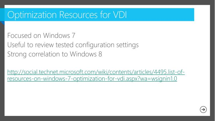 Optimization Resources for VDI