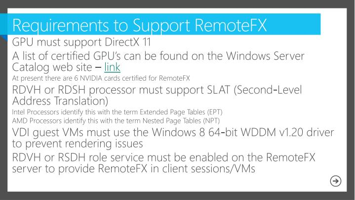 Requirements to Support RemoteFX