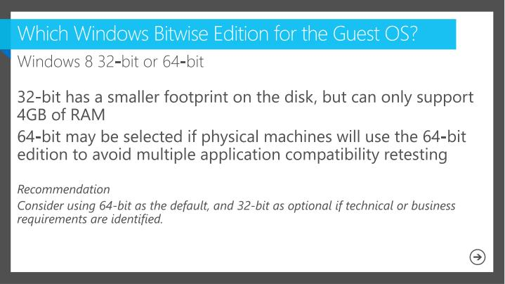 Which Windows Bitwise Edition for the Guest OS?