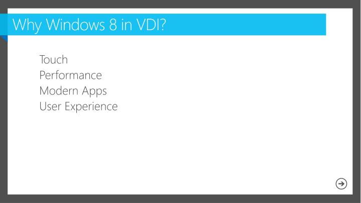 Why Windows 8 in VDI?