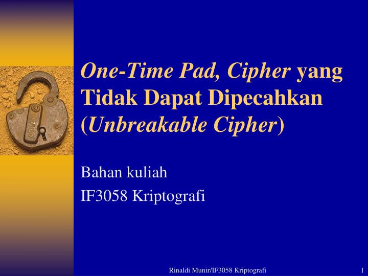 One-Time Pad, Cipher