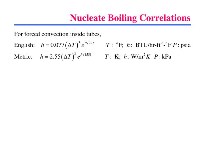 Nucleate Boiling Correlations