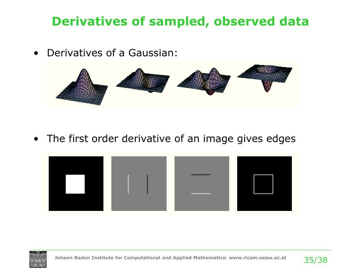 Derivatives of sampled, observed data