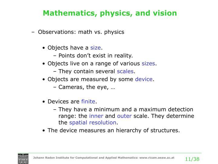 Mathematics, physics, and vision