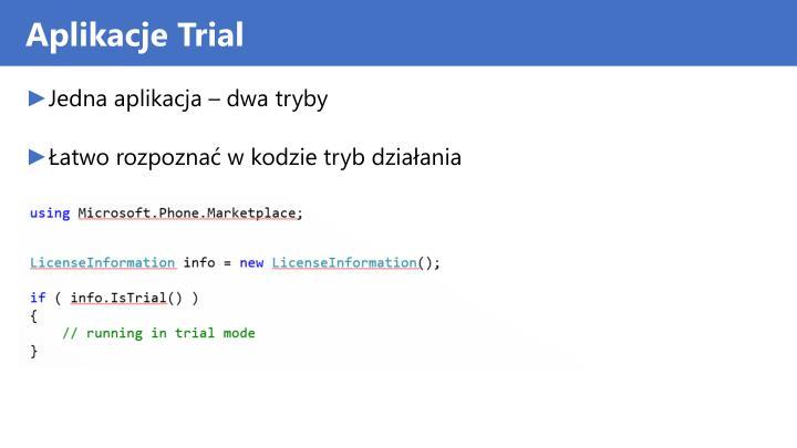 Aplikacje Trial