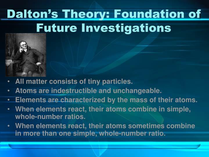Dalton's Theory: Foundation of Future Investigations
