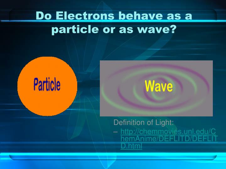 Do Electrons behave as a particle or as wave?