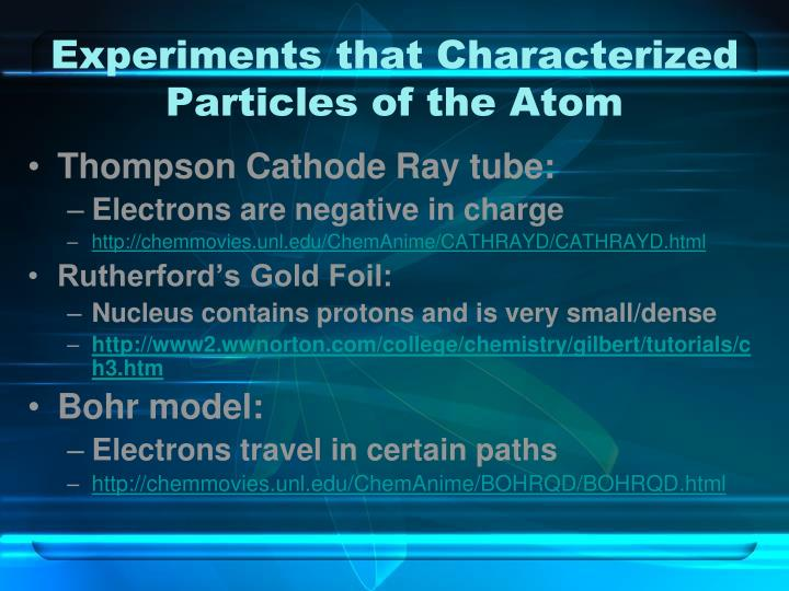 Experiments that Characterized Particles of the Atom