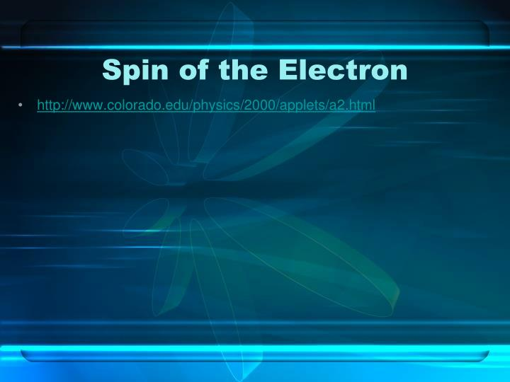 Spin of the Electron