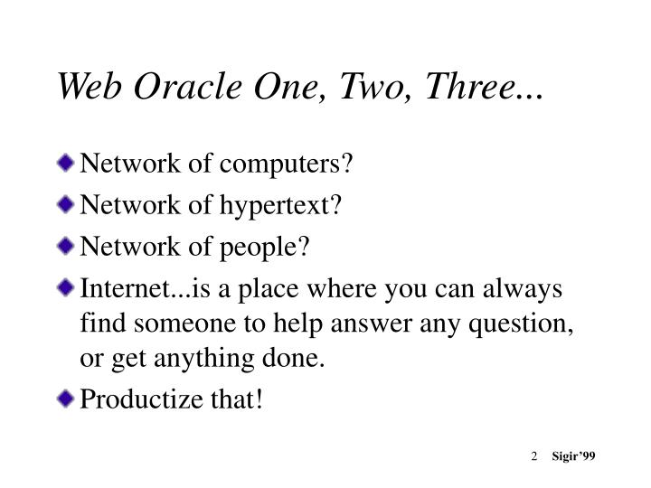 Web oracle one two three