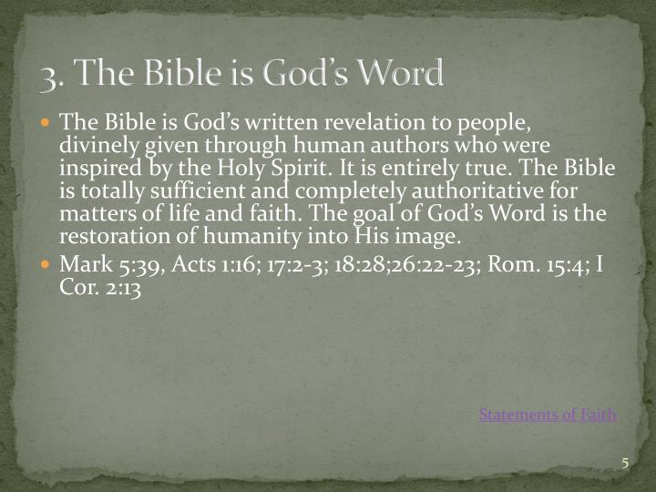 3. The Bible is God's Word