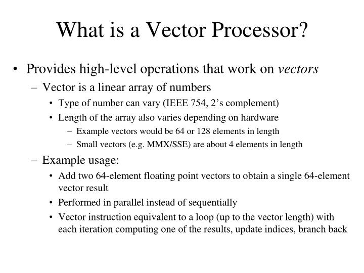 What is a Vector Processor?