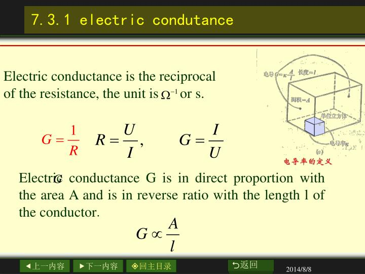 Electric conductance is the reciprocal