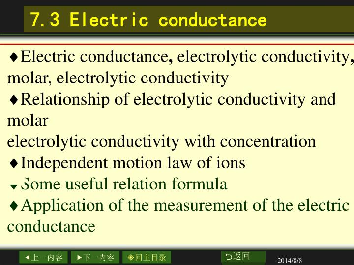 7.3 Electric conductance