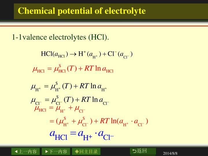 Chemical potential of electrolyte