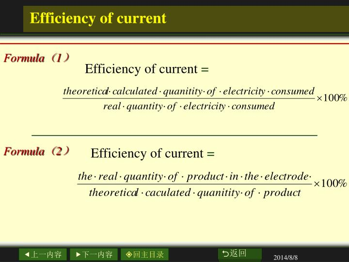 Efficiency of current