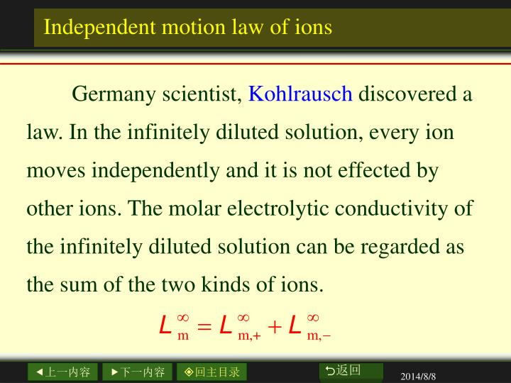 Independent motion law of ions