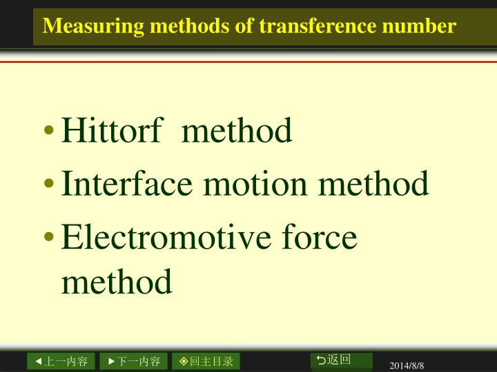 Measuring methods of transference number