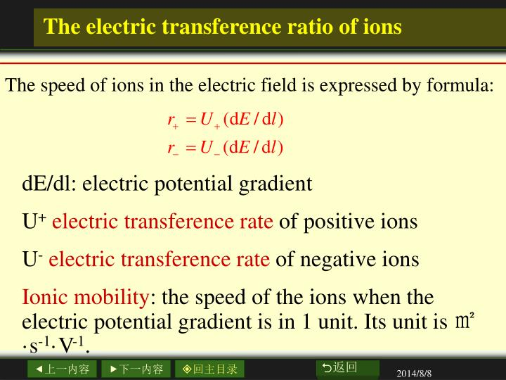 The electric transference ratio of ions