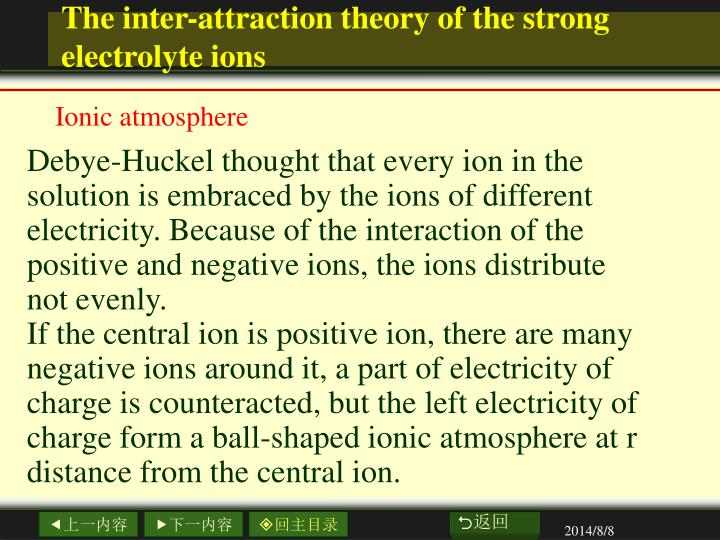 The inter-attraction theory of the strong electrolyte ions