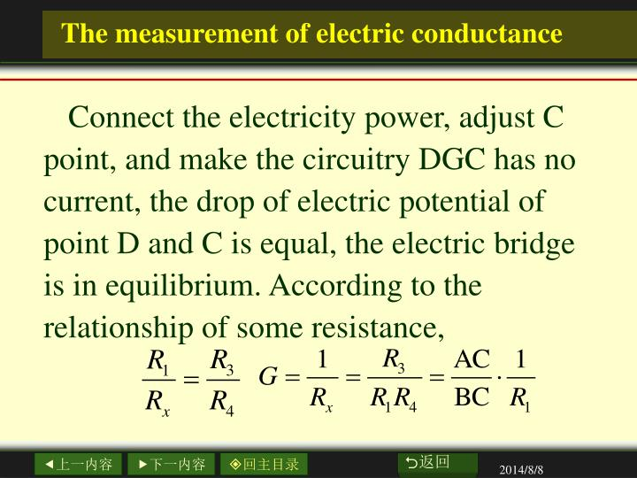 The measurement of electric conductance