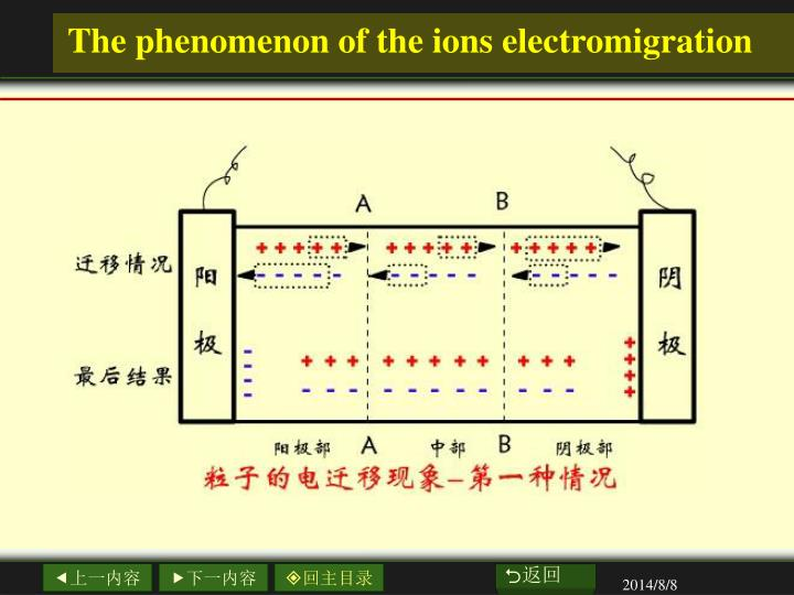 The phenomenon of the ions electromigration