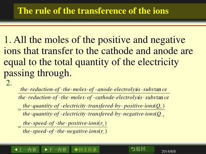 The rule of the transference of the ions