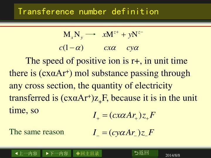 Transference number definition