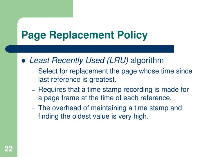 Page Replacement Policy