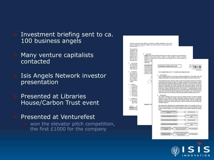 Investment briefing sent to ca. 100 business angels