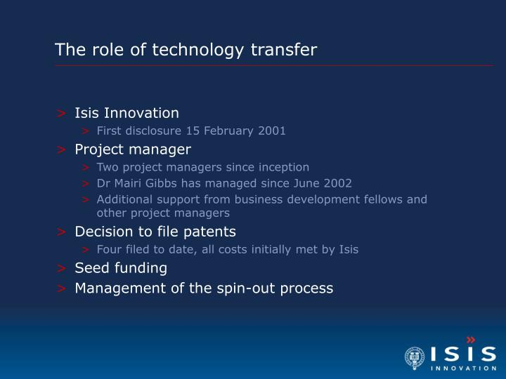The role of technology transfer