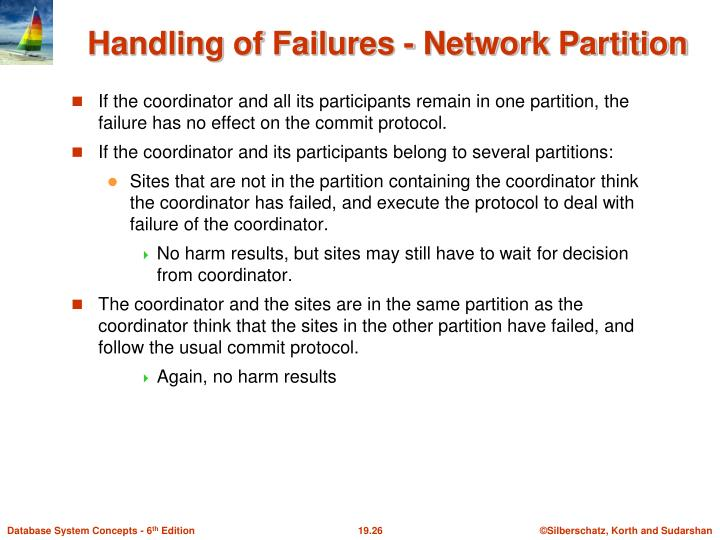 If the coordinator and all its participants remain in one partition, the failure has no effect on the commit protocol.