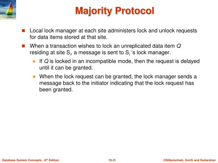 Local lock manager at each site administers lock and unlock requests for data items stored at that site.