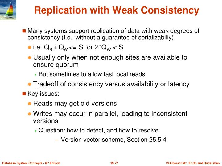 Many systems support replication of data with weak degrees of consistency (I.e., without a guarantee of serializabiliy)