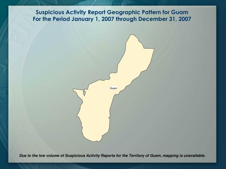 Suspicious Activity Report Geographic Pattern for Guam