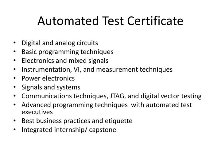 Automated Test Certificate