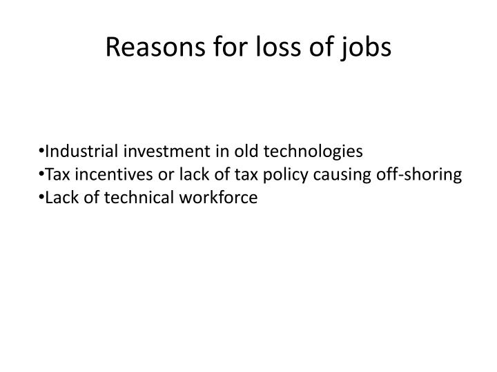 Reasons for loss of jobs