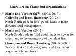literature on trade and organizations