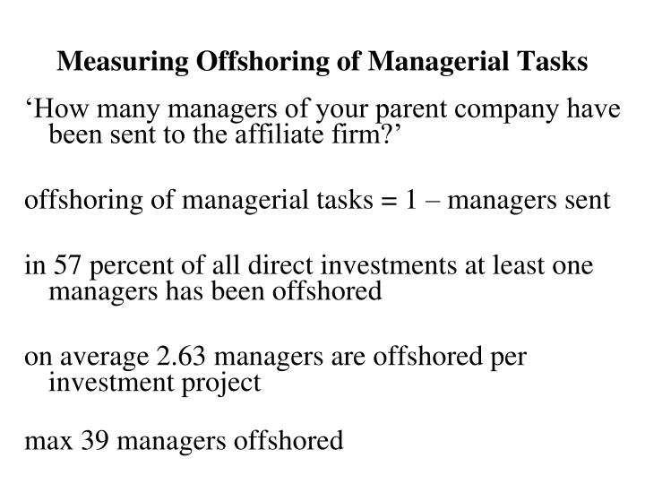 Measuring Offshoring of Managerial Tasks