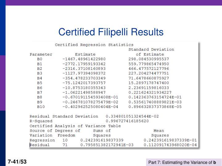Certified Filipelli Results