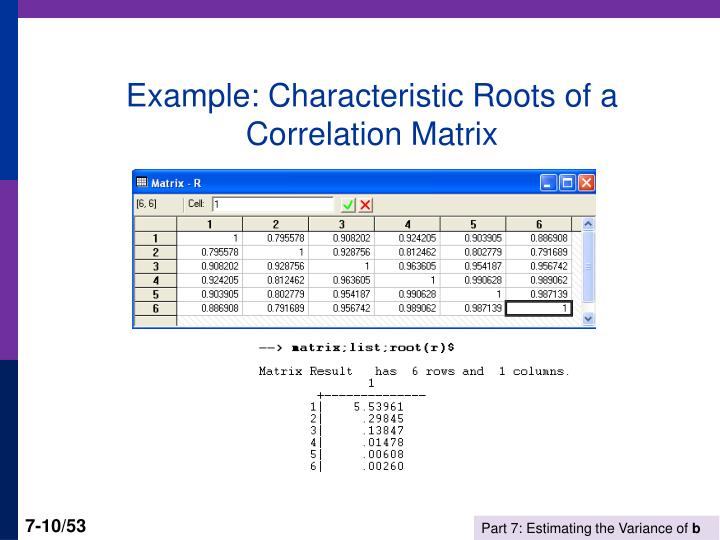 Example: Characteristic Roots of a Correlation Matrix