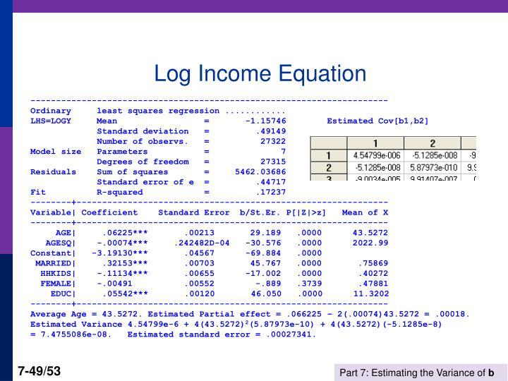 Log Income Equation