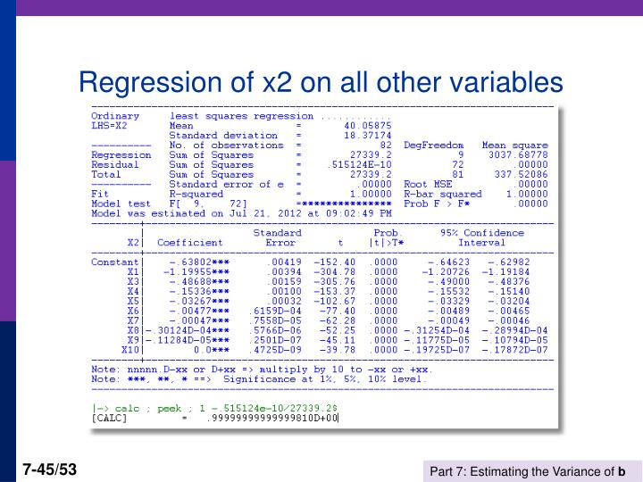 Regression of x2 on all other variables