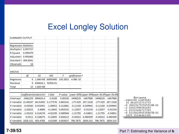 Excel Longley Solution