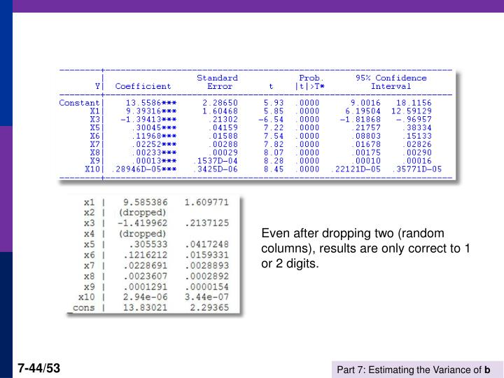 Even after dropping two (random columns), results are only correct to 1 or 2 digits.