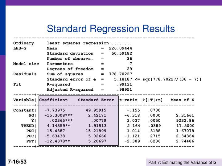 Standard Regression Results