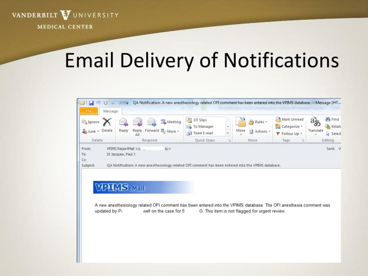 Email Delivery of Notifications